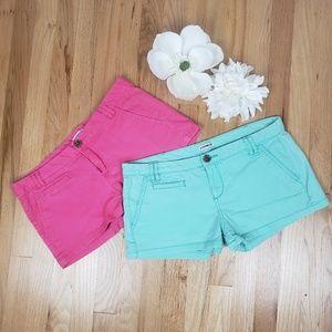 EXPRESS Aqua & Pink Low Rise Shorts Bundle